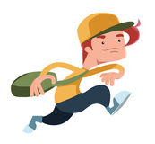 Boy running with a bag  illustration cartoon character Stock Photo