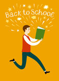 Boy running with a book. Back to school illustration. Cartoon schoolboy running with  a book. Including back to school title. Education illustration for your Stock Image