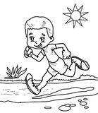 Boy running coloring page. Hand drawn boy running coloring page for kids Royalty Free Stock Photography
