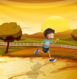 A boy running in the farm. Illustration of a boy running in the farm stock illustration