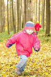 Boy running in forest Royalty Free Stock Image
