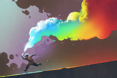 Boy running and holding up colorful smoke flare on dark background. Illustration painting Stock Photography