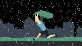 A boy running hurriedly,trying to protect himself from the rain.