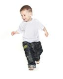 Boy running over white Stock Photo