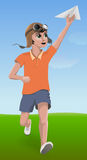 Boy running with paper plane. Vector illustration boy running with paper plane Royalty Free Stock Image