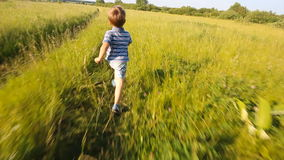 Boy running in a park or garden. Among trees stock video