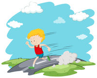 Boy running in the park Royalty Free Stock Photography