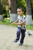 Boy running in the park Royalty Free Stock Images