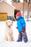 Boy running and playing with snow and white large big pet dog outdoors Stock Image