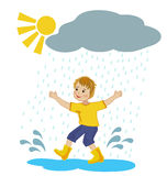 Boy running in the rain puddles Royalty Free Stock Photography