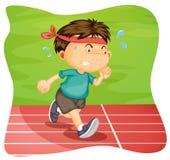 A Boy Running on Running Track. Illustration royalty free illustration