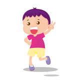 Boy running and signalling success Stock Photography