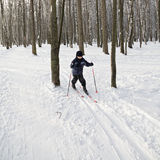 Boy running on skis in winter forest Stock Photography