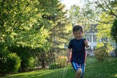 Boy running through sprinklers in backyard Stock Photo