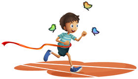 A boy running with three butterflies Royalty Free Stock Photos