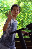Boy running on treadmill Royalty Free Stock Photo