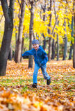 Boy runs in autumn park Royalty Free Stock Photos