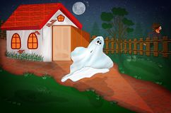Boy runs away from a ghost stock image