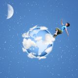 Boy runs on globe collage Stock Photo