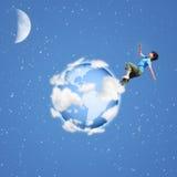 Boy Runs On Globe Collage Stock Photo