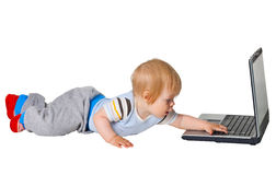 Boy runs to the computer Royalty Free Stock Images
