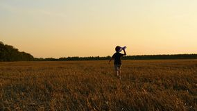 The boy runs through the wheat field after the harvest, holding a model airplane. The child plays with the plane stock video