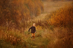 A boy runs in the woods Royalty Free Stock Photo