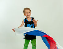Boy with russian flag royalty free stock photo