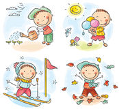 Boy's activities during the four seasons Royalty Free Stock Images