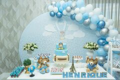 Boy`s birthday party with bluish pastel colors decoration