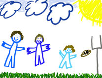 Boy's drawing of family. Little boy's drawing of happy times playing sports with family Royalty Free Stock Images