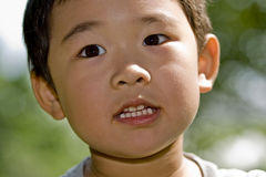 Boy's face. Picture of a little chinese boy's face with an attentive expression Royalty Free Stock Photo