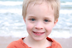 Boy's Face at Beach Royalty Free Stock Images