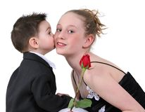 Boy's First Kiss Royalty Free Stock Photography