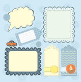 Boy's frame and tags collection for scrapbook Royalty Free Stock Images