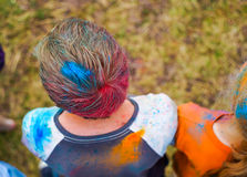 Boy's head in paint powder Stock Photography