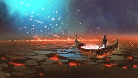 Boy`s journey to fantastic world. Fantasy world scenery showing a boy rowing a boat in the land of volcanic, digital art style, illustration painting royalty free illustration