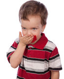 The boy's mouth by red tape Stock Photo