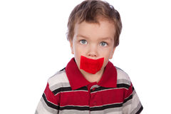 The boy's mouth by red tape Stock Photos