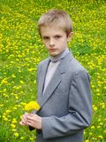 Boy's portrait. On dandelions background Royalty Free Stock Photography