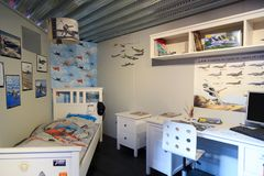 Boy`s room with airplanes. Mock-up of typical boy`s room with airplane pictures and models Royalty Free Stock Photos