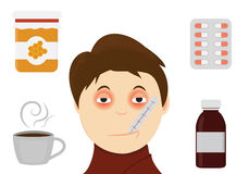 Boy`s sick face with termometer vector illustration. Cold treatment illustration. Stock Image