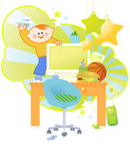 Boy's Working Table Royalty Free Stock Photography