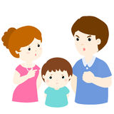 Boy sad from parent fighting problem  illustration. Boy sad from parent fighting problem on white background cartoon  illustration Stock Photo