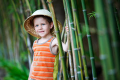Boy in safari hat. Portrait of cute small boy in safari hat royalty free stock images