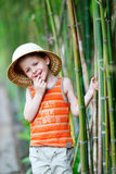 Boy in safari hat. Portrait of cute small boy in safari hat royalty free stock photo