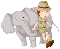 Boy in safari outfit and Elephant Royalty Free Stock Images