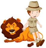 Boy in safari suit and wild lion Stock Photos