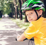 Boy in safe bicycle helmet close up portrait Stock Photo