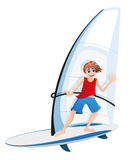 Boy on a sail board Royalty Free Stock Photography